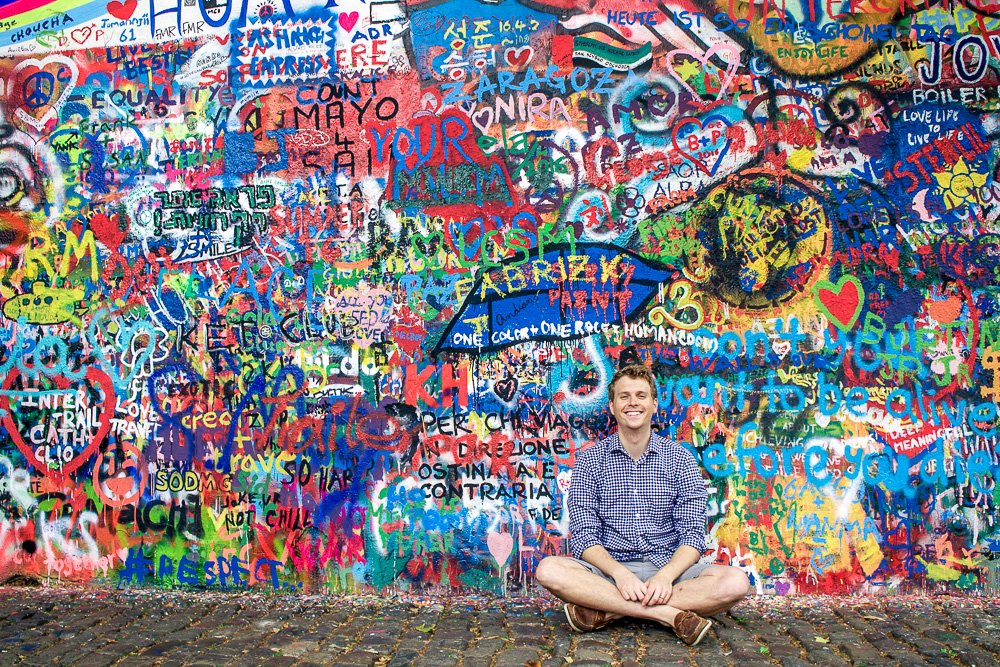 John Lennon Wall. We had to be careful where we took the photo because there was some profanity on the wall, unfortunalty. So I apologize if I miss any!